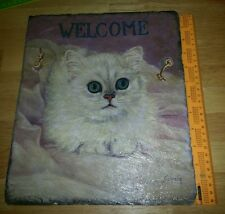 "Vtg oil painted white pussy cat on big tile plague leather strap 12""×10""Wall art"