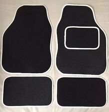 CAR FLOOR MATS FOR MINI COOPER CLUBMAN ONE FIRST S - BLACK WITH WHITE TRIM