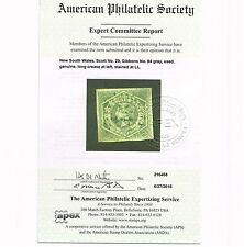 GENUINE NEW SOUTH WALES NSW SCOTT #29 USED 1854 GRAY APS CERT - GIBBONS #94