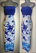 WOMENS ladies pretty long casual floral bandeau cruise day MAXI DRESS SIZE 16-18
