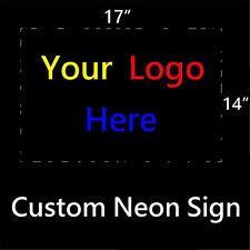 "17""x14"" Custom Logo Neon Light Sign Real Glass Beer Bar Pub Club Store Display"