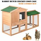Rabbit Hutch Chicken Coop Cage Guinea Pig Ferret Chook Hen House 2 Storey Run