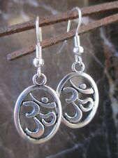 Yoga Buddhist Tibetan Silver Oval Ohm Sign Artisan Hand Crafted Earrings-Hindu