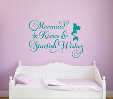 MERMAID KISSES STARFISH WISHES  Vinyl Wall Decal Quote Sticker Girls Room Decor
