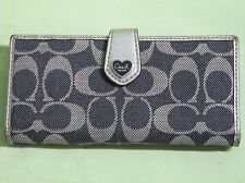 AUTHENTIC COACH POPPY SIGNATURE BLUE DENIM/SILVER LEATHER BI-FOLD WALLET F49073