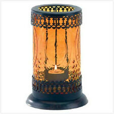 AMBER GLASS LANTERN home & garden indoor/ outdoor decor tea light