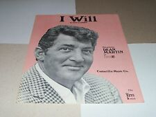 Dean Martin sheet music I Will 1965 3 pages (VG+ shape)