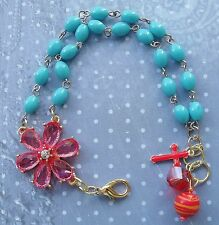NEW AA DOUBLE DECADE MIXED METAL BLUE ORANGE BEADS FLOWER CROSS ROSARY BRACELET