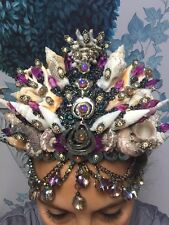 Custom Mermaid Seashell Shell Crown Pink Amethyst Purple Mystic AB Rhinestones!