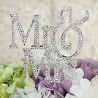 MR and MRS Silver Crystal Rhinestone Cake Topper Birthday Bling Party Favor USA
