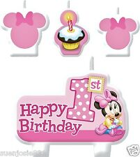 Disney Minnie Mouse 1st Birthday Candles Set Cake Toppers Decorations