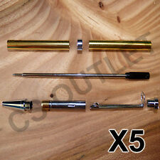 Slimline Fancy Pen Kits X 5 off Sets - Chrome / Silver - for woodturning