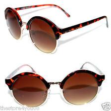 Wayfarer Sunglasses Soho Clubmaster Brown Gold  Round Shape Brown Lens Retro