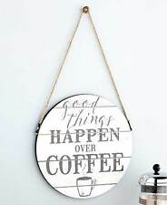 WOODEN PALLET COFFEE THEMED GOOD THINGS HAPPEN RUSTIC WALL SIGN ART PLAQUE DECOR