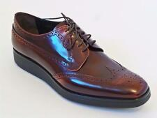 PRADA Burgundy Wing Tip Perforated Leather Driver Logo Oxford Shoes 9.5 US10.5