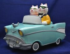 CRUISIN CATS~Clay Art LARGE Ceramic Car Cookie Jar Hand Painted 97' EXCELLENT!