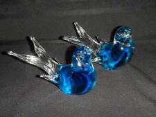 Pair (2) Murano Hand Blown Art Glass Mourning Doves Venezia Italy Paperweights