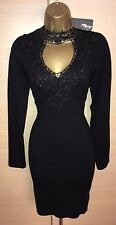 Exquisite Jane Norman Brand New Black Lace Appliqué Keyhole Jumper Dress UK8