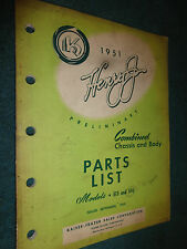 1951 KAISER-FRAZER HENRY J  BODY & CHASSIS EARLY PARTS CATALOG / ORIGINAL BOOK