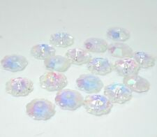 30pcs clear AB crystal glass Plum flower Silver Bottom Loose beads 10mm