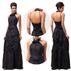 Vintage 50s Black Long Formal Bridesmaid Evening Gowns Party Cocktail Prom Dress