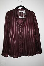 Jaclyn Smith Maroon Poly Satin Dress Blouse w/Cami Sheer Metalic Stiches Med EUC