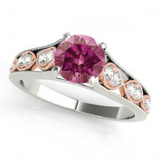 0.68 Ct Pink Diamond HPHT  Ring 3 Stone Engagement Ring 14k White Gold G VS2