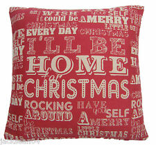 "CHRISTMAS WORDS SONGS COTTON TAPESTRY RED CREAM THICK CUSHION COVER 18"" - 45CM"