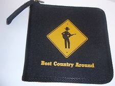 COUNTRY MUSIC CD CARRYING CASE-PICKER ON COVER-BEST COUNTRY ROUND -BLACK & NEW