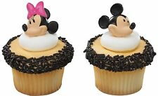 Disney Mickey & Minnie Mouse Face Cupcake Rings 24pcs Toppers Cake Decorations