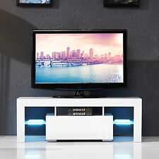 High Gloss LED Shelves TV Stand Unit Cabinet w/Drawer Console Furniture  White