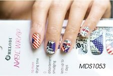 16 Pcs American Flag Nail Wrap Nail Patch Self-adhesive Decals Stickers MDS1053