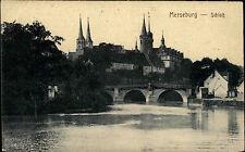 MERSEBURG Sachsen-Anhalt AK um 1910 Schloss Saale Brücke alte Postkarte ungelauf