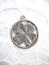 NEW LUCKY 4 LEAF CLOVER INSIDE ROUND RING USA CAST PEWTER PENDANT NECKLACE