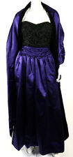 ESCADA Royal Purple Satin Beaded Embroidered Velvet Evening Gown 40