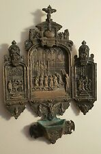 Antique Bronze Silvered Triptych Font Holy Water Medieval