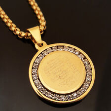 "Gold Stainless Steel Islam Koran CZ Pendant & 24"" Round Box Chain Necklace 175G"