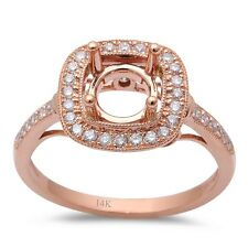.28ct F VS 14kt Rose gold Halo Round Diamond Semi Mount Engagement Ring Sz 6.5