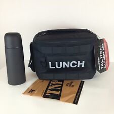 "Tactical Lunch Box Bag Kit Black With Insulated Thermos and Snack Pouch 14"" NEW"
