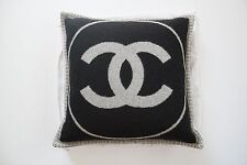 Chanel Pillow Black Biege Wool Cashmere Decor CC Logo Karl Lagerfield NEW