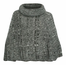 Pia Rossini Adrianna Ribbed & Cable Knit Poncho Grey
