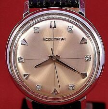 Bulova Accutron 214 stainless steel with diamonds on dial and new leather band
