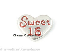 10pc Lot Sweet 16 Birthday Heart Floating Charm For Glass Living Memory Lockets