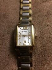 Fossil Woman Watch Stainless Steel W Gold Tone ES8649, New Battery.dateExcellent