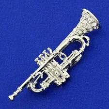W Swarovski Crystal BB Trumpet Musical Instrument Brooch Pin Gift