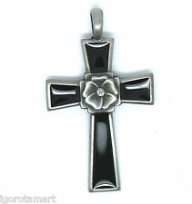 Men's Vintage Silver Stainless Steel Cross Pendant Necklace