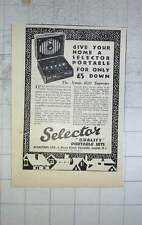 1928 Selectors Quality Portable Radio Sets Dover Street Piccadilly