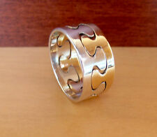 Ed Levin Jewelry 14K Gold and Sterling Puzzle Design Wide Ring @ Size 10  LC 1
