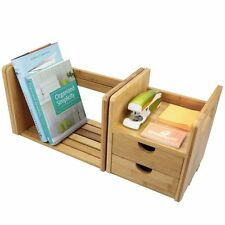 Bamboo Desktop Book Shelf with Drawers