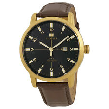 Tommy Hilfiger Geore Black Dial Brown Leather Mens Watch 1710329